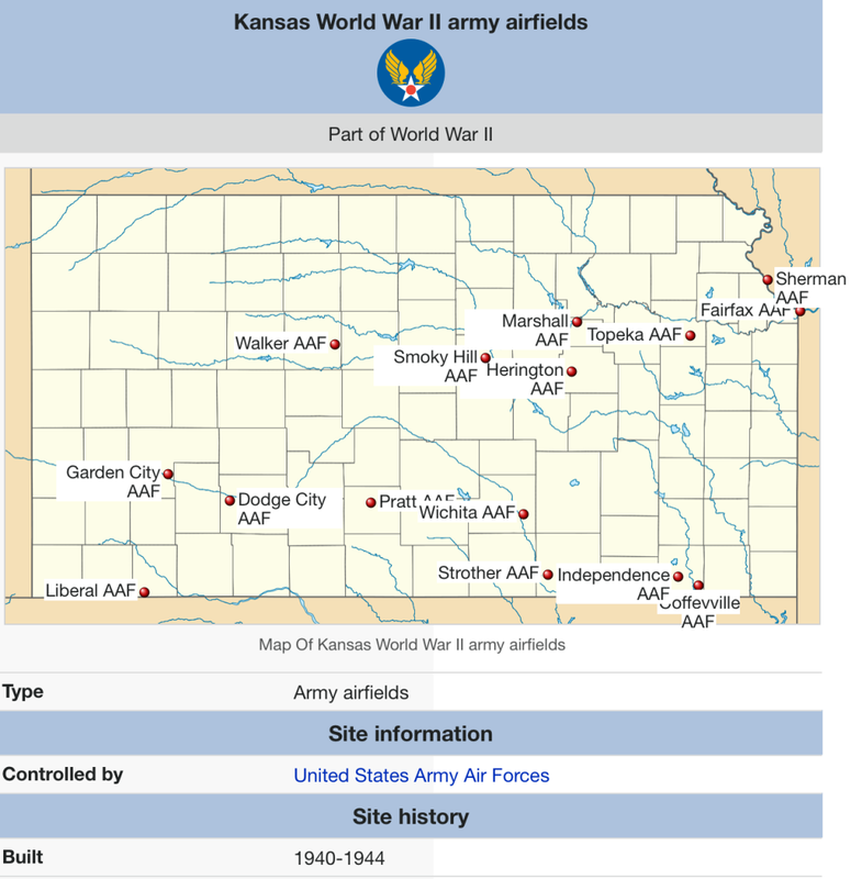 WWII Army Airfields in Kansas