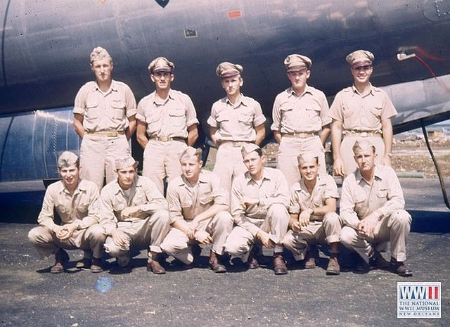 Crew of the Z Square 7 on Saipan.  Jack Lebid is in the front row, far left.
