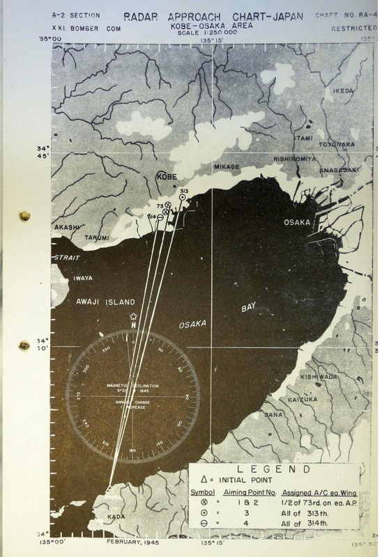 Bomb run instructions for all groups bombing Kobe, 16/17 March 1945 from