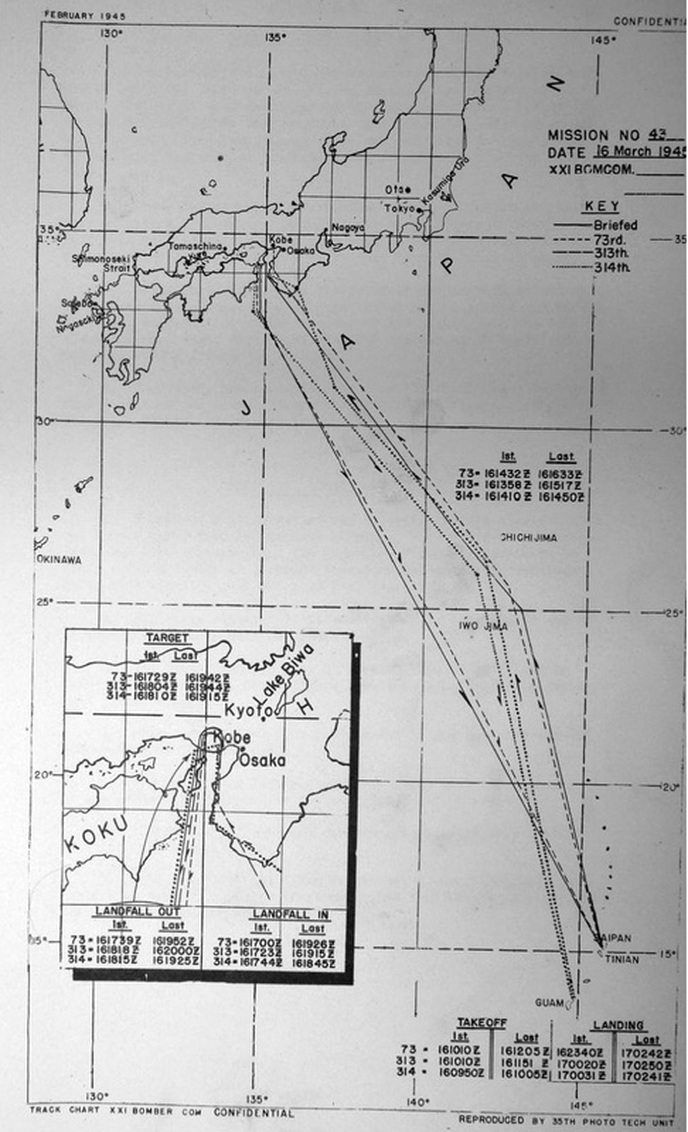 Flight plan for all groups from Saipan to Kobe on 16/17 March 1945, and