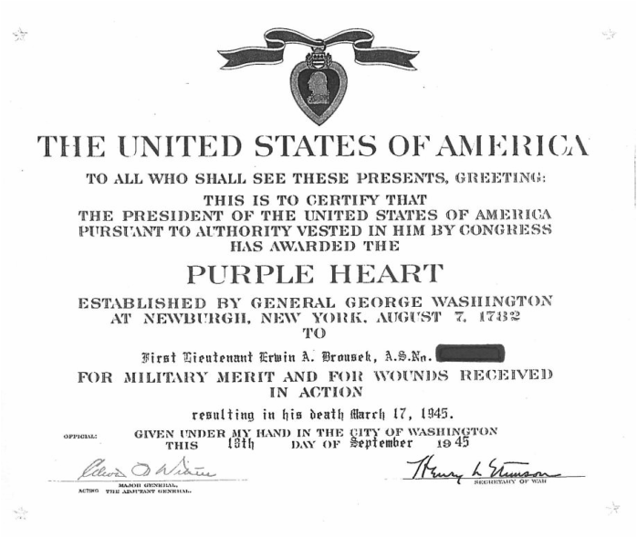 Purple Heart Certificate