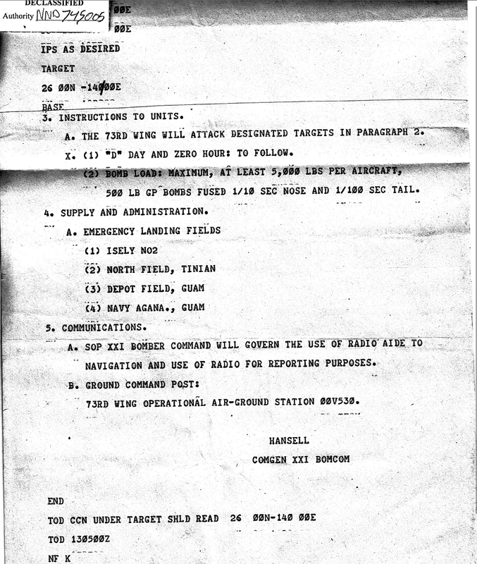 The following 3 page mission report orders may be the last issued by General Hansell, before he was replaced by General LeMay in January 1945. pg 1