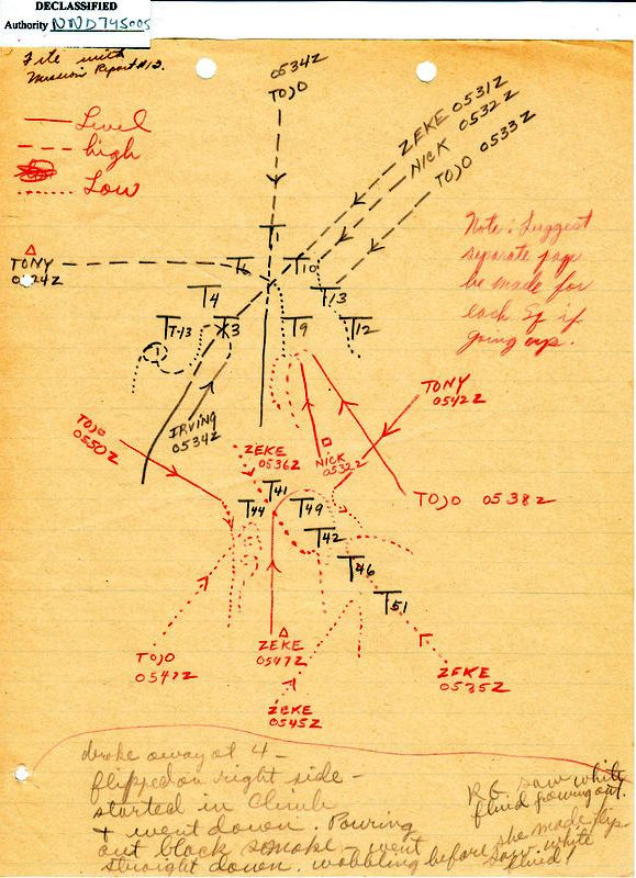 Squadron report of Japanese fighter attacks.  18 Dec 44.  NAGOYA.