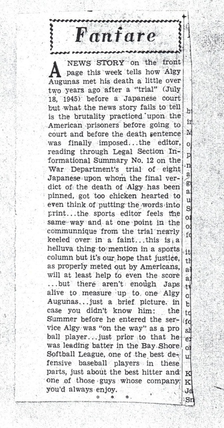 Newspaper article on Algy Augunas death