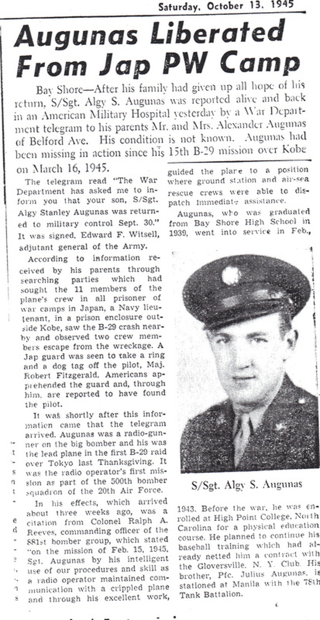 Newspaper article on Algy Augunas