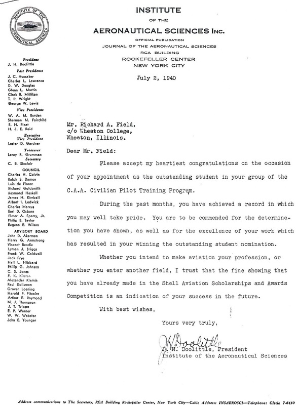 Doolittle letter to Capt. Richard A. Field