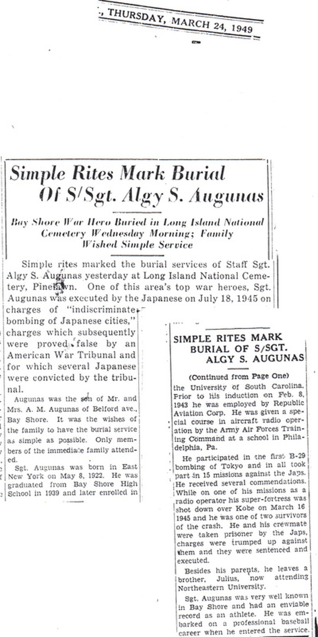 Newspaper article on Algy Augunas burial