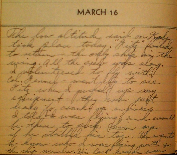 Diary entry 16 March 45