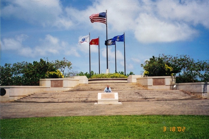 Hap Halloran at the B-29 Memorial on Saipan 2002