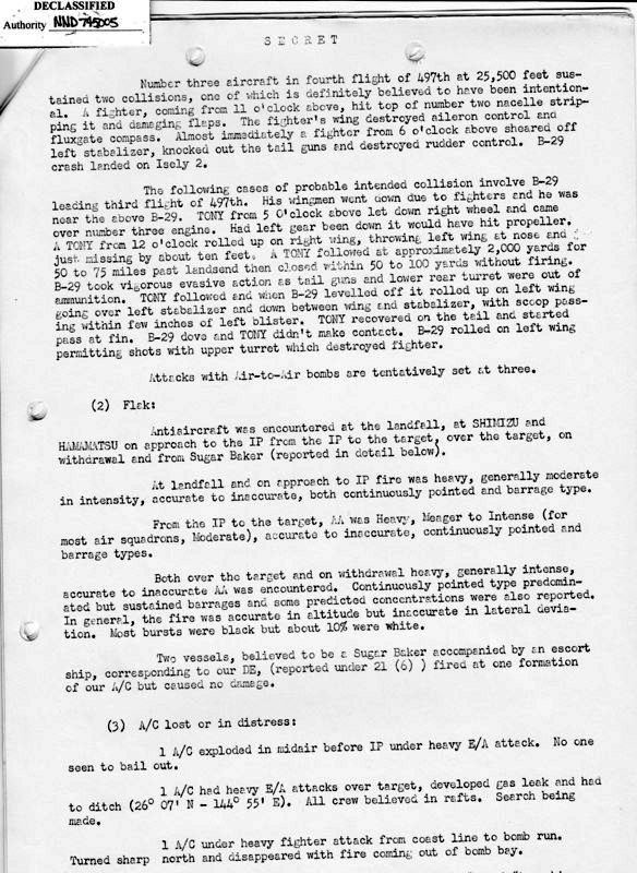 73rd Bomb Wing Mission Report for 27 Jan 1945
