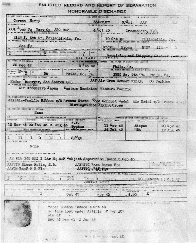 Gerson Discharge papers